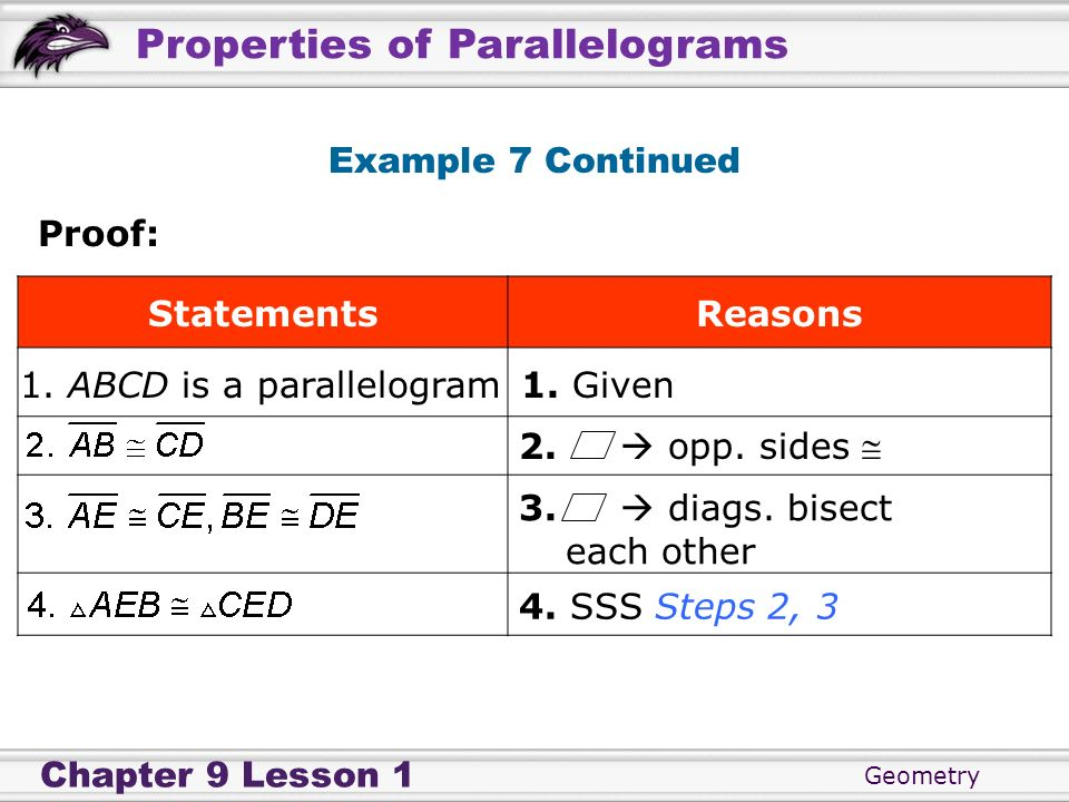Example 7 ContinuedProof: Statements. Reasons. 1. ABCD is a parallelogram. 1. Given. 2.  opp. sides 