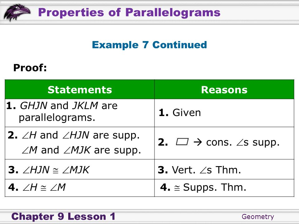 Example 7 ContinuedProof: Statements. Reasons. 1. GHJN and JKLM are. parallelograms. 1. Given. 2. H and HJN are supp.