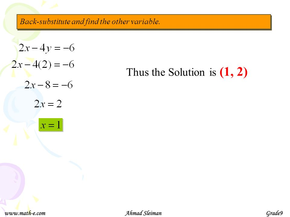 Back-substitute and find the other variable.