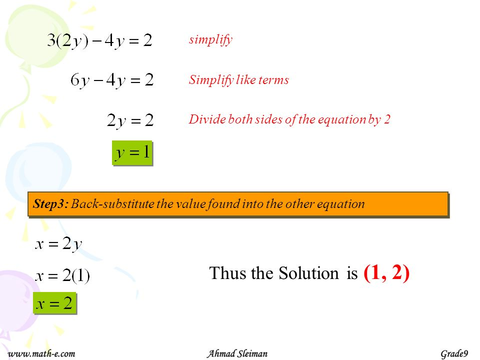 Thus the Solution is (1, 2) simplify Simplify like terms