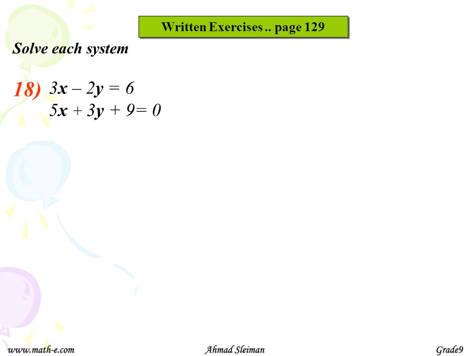 Written Exercises .. page 129