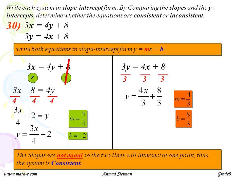30) 3x = 4y + 8 3y = 4x + 8 3x = 4y + 8 3y = 4x + 8 3x – 8 = 4y 3 4