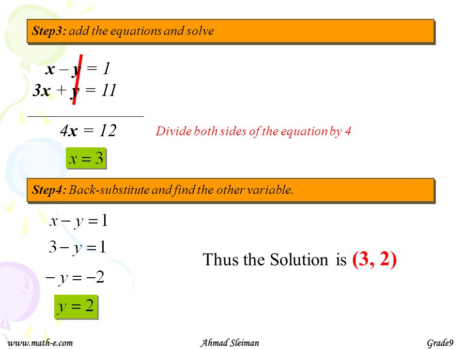 x – y = 1 3x + y = 11 4x = 12 Thus the Solution is (3, 2)