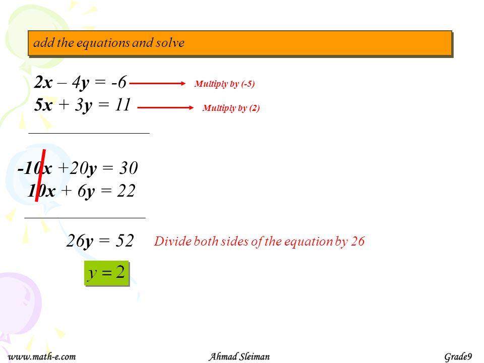 2x – 4y = -6 5x + 3y = 11 -10x +20y = 30 10x + 6y = 22 26y = 52