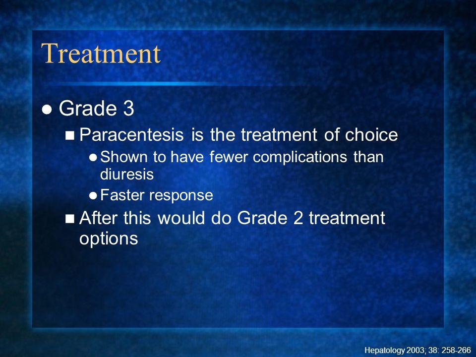 Treatment Grade 3 Paracentesis is the treatment of choice