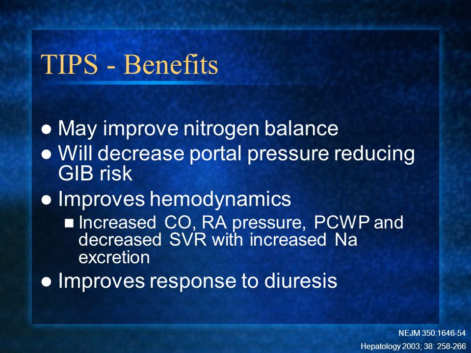 TIPS - Benefits May improve nitrogen balance