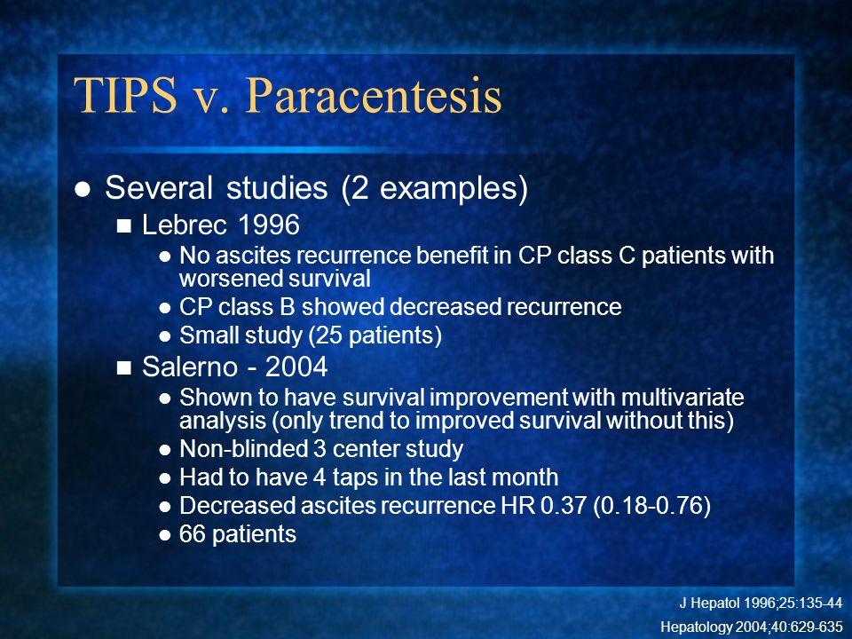 TIPS v. Paracentesis Several studies (2 examples) Lebrec 1996