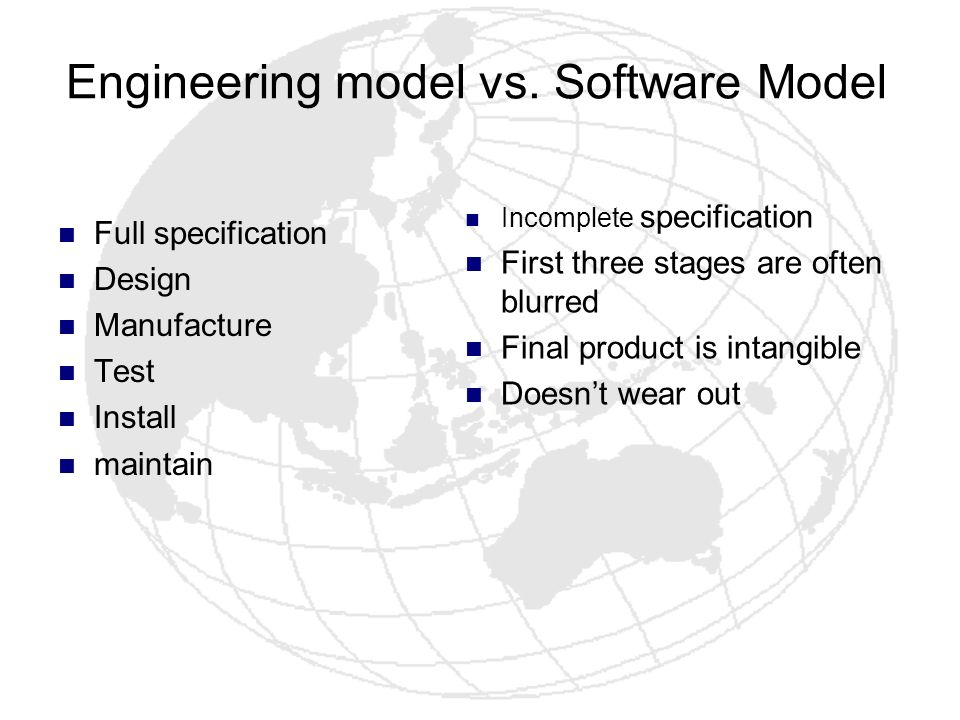 Engineering model vs. Software Model