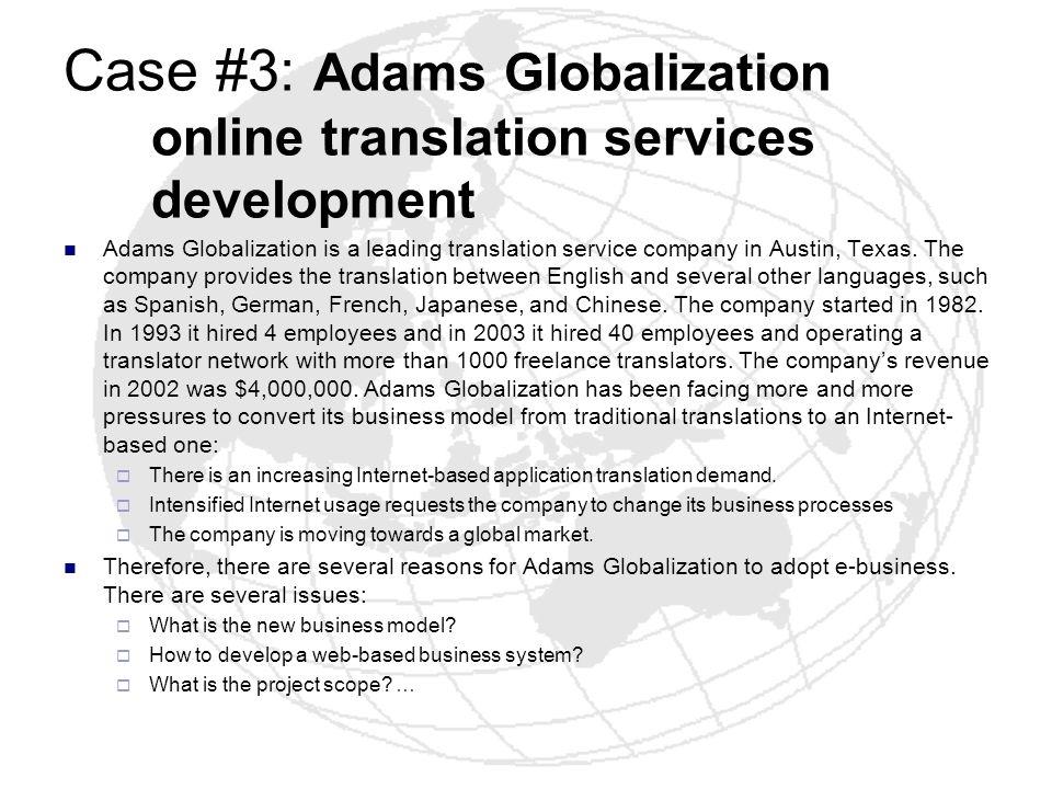 Case #3: Adams Globalization online translation services development