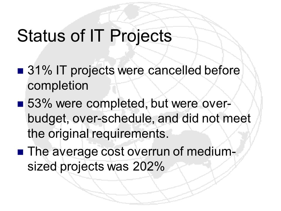 Status of IT Projects 31% IT projects were cancelled before completion