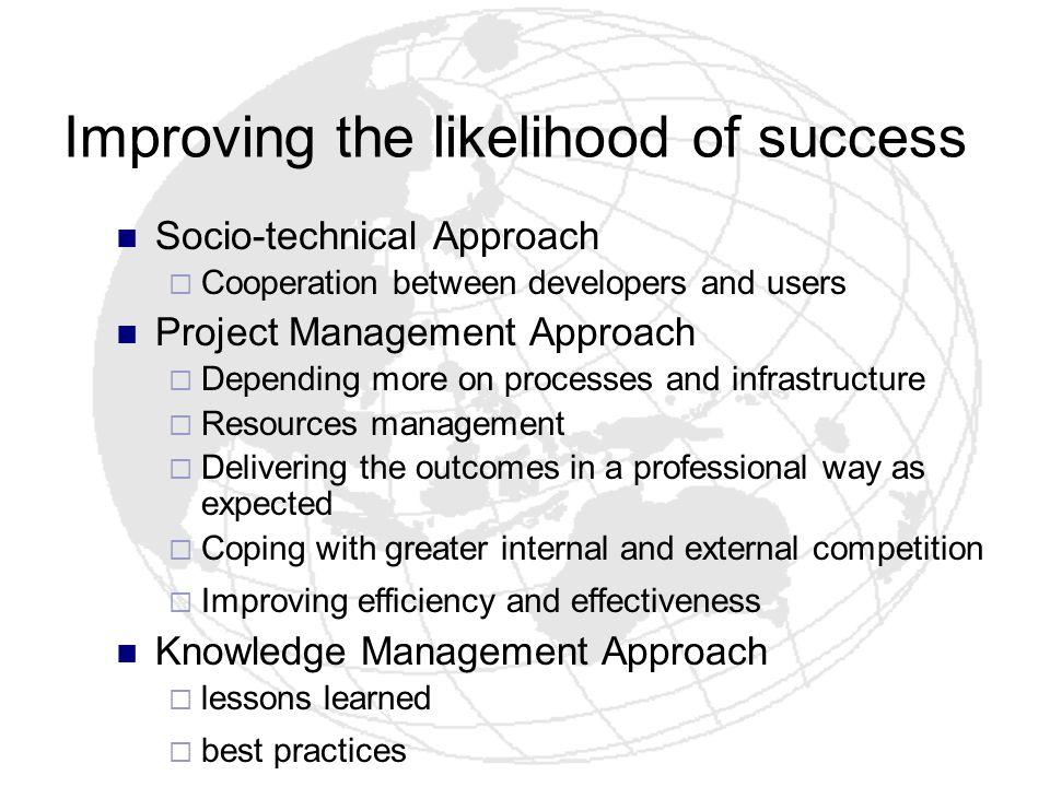 Improving the likelihood of success
