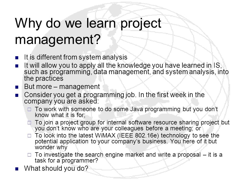 Why do we learn project management