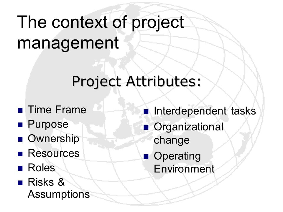 The context of project management