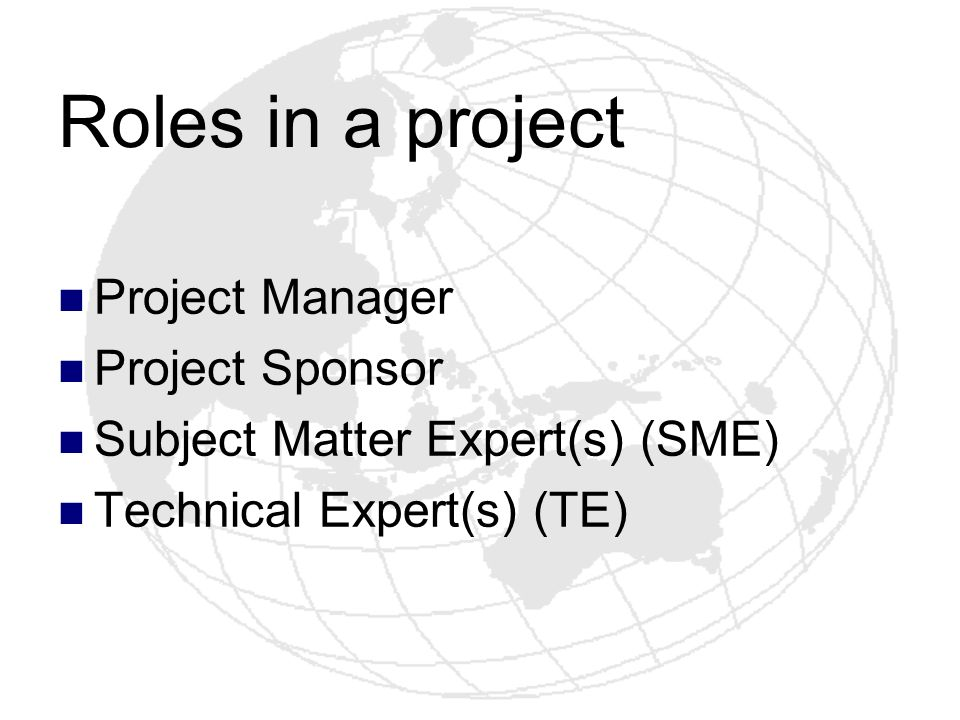 Roles in a project Project Manager Project Sponsor