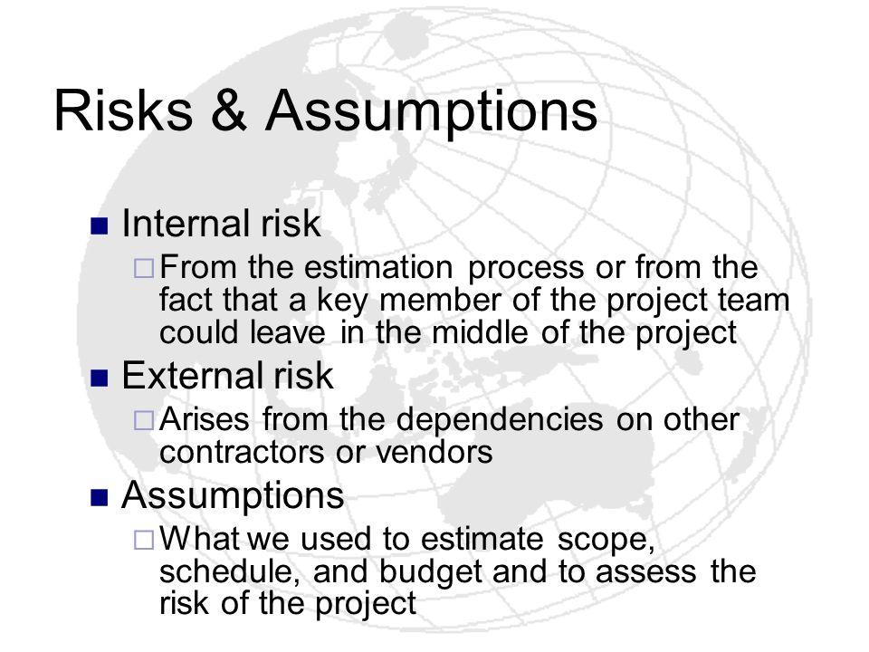 Risks & Assumptions Internal risk External risk Assumptions