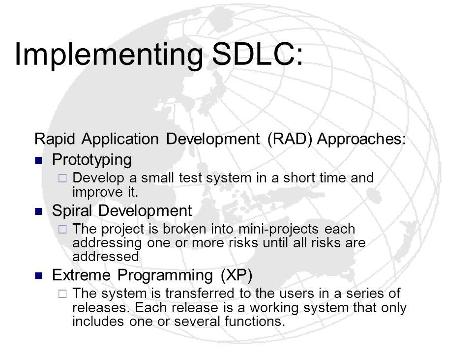 Implementing SDLC: Rapid Application Development (RAD) Approaches: