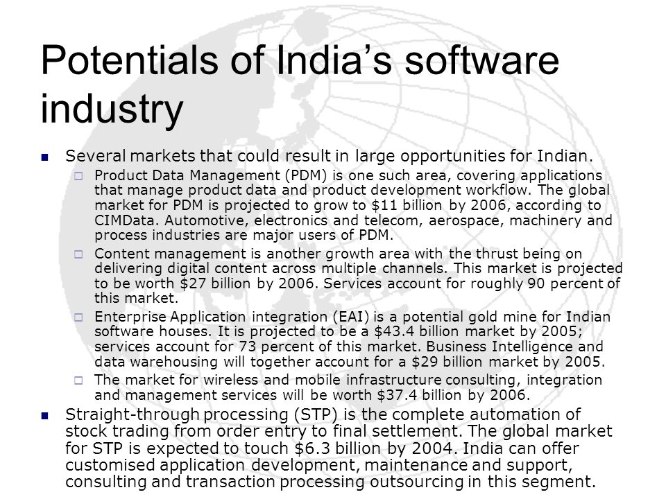 Potentials of India's software industry