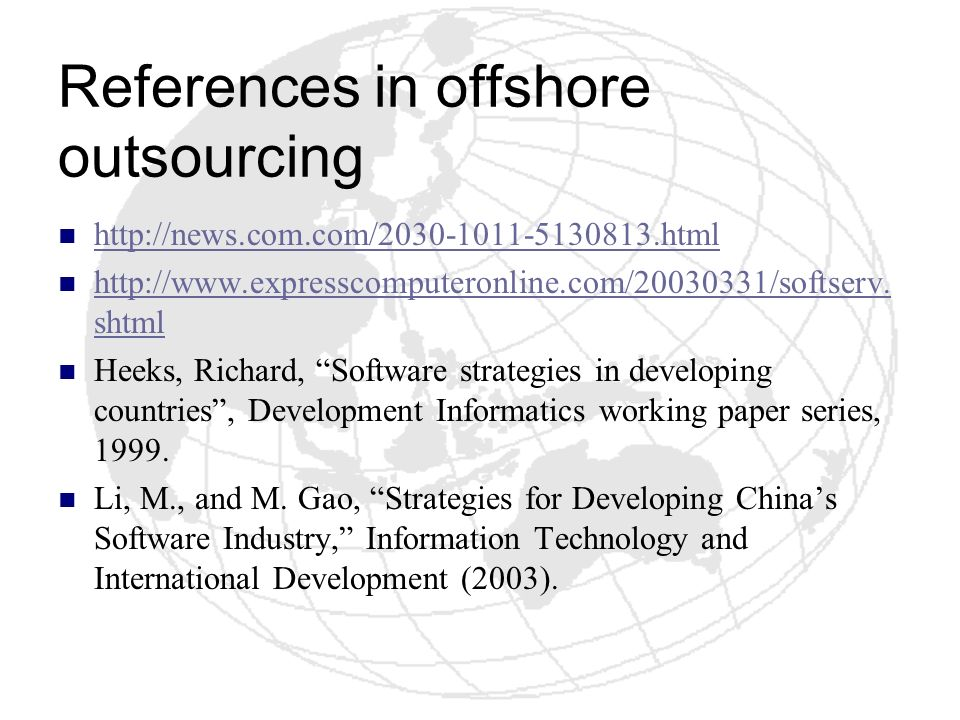 References in offshore outsourcing