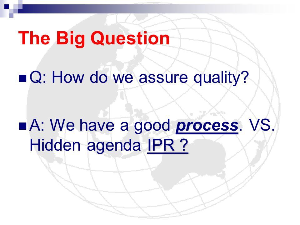 The Big Question Q: How do we assure quality