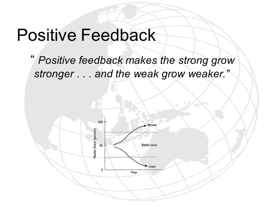 Positive Feedback Positive feedback makes the strong grow stronger . . . and the weak grow weaker.
