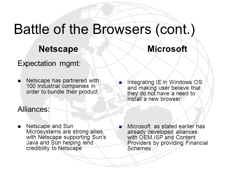 Battle of the Browsers (cont.)