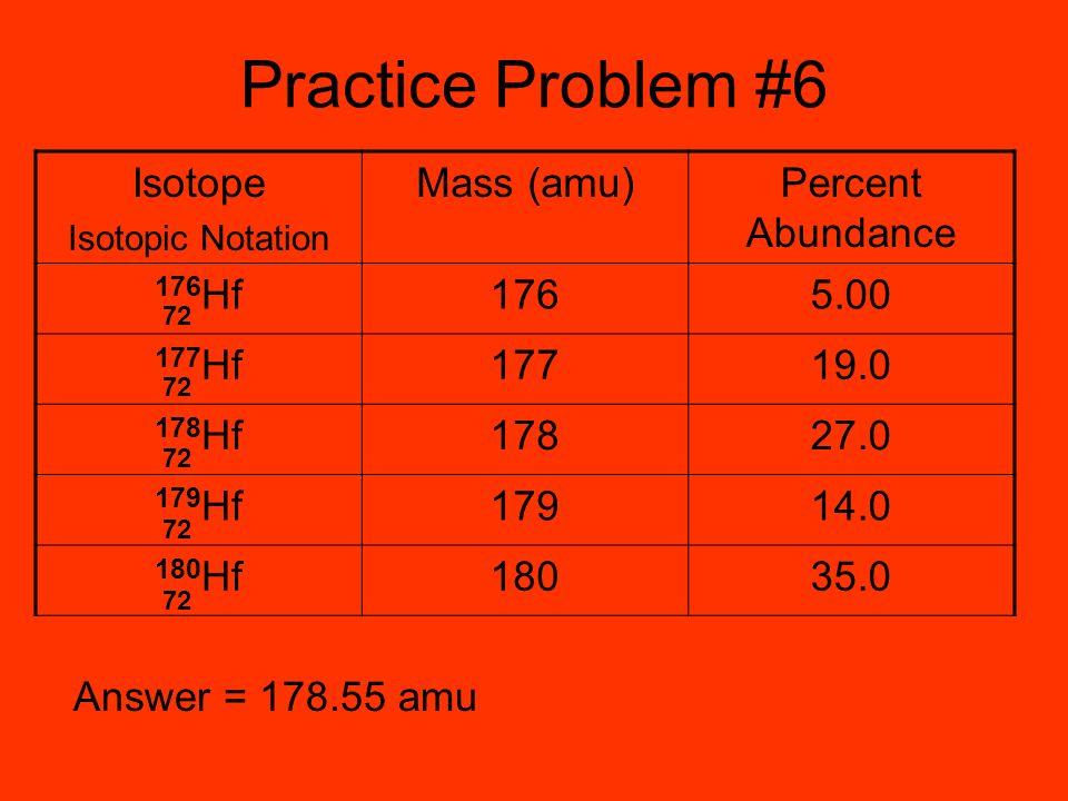 Practice Problem #6 Isotope Mass (amu) Percent Abundance 176Hf 176