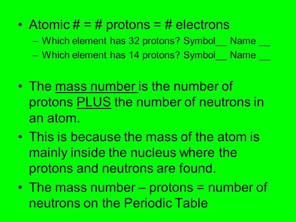 Atomic # = # protons = # electrons