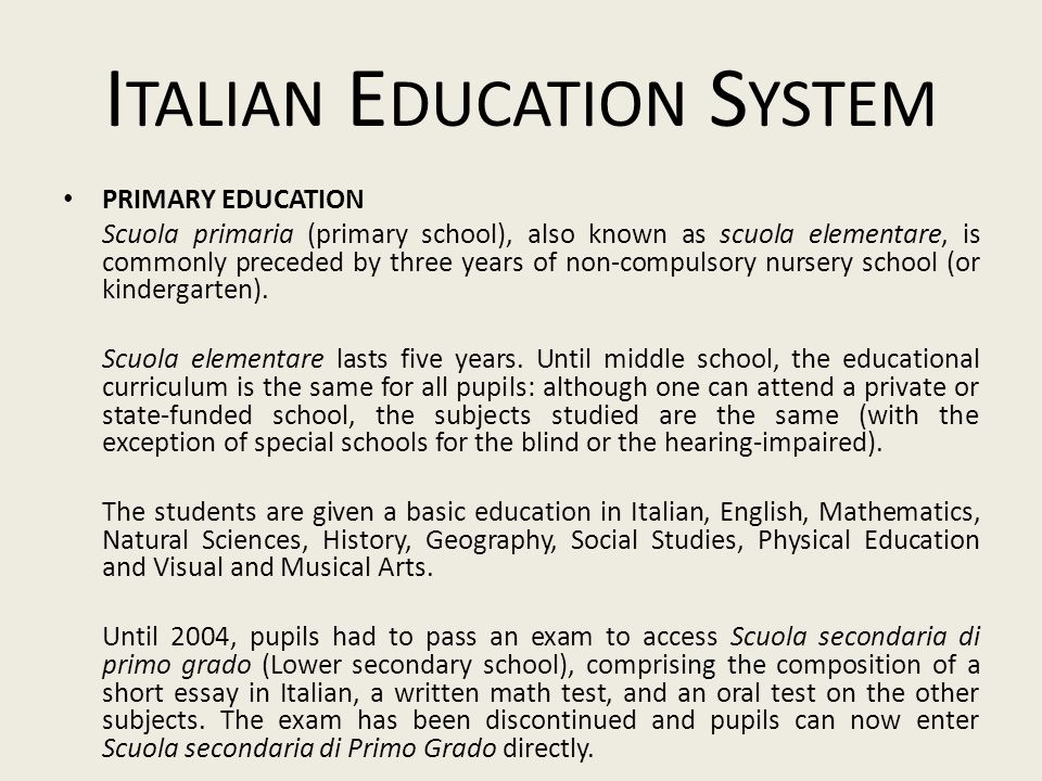 Italian Education System