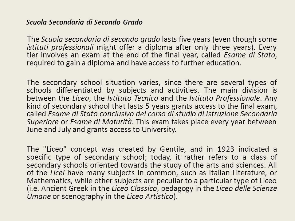 Scuola Secondaria di Secondo Grado