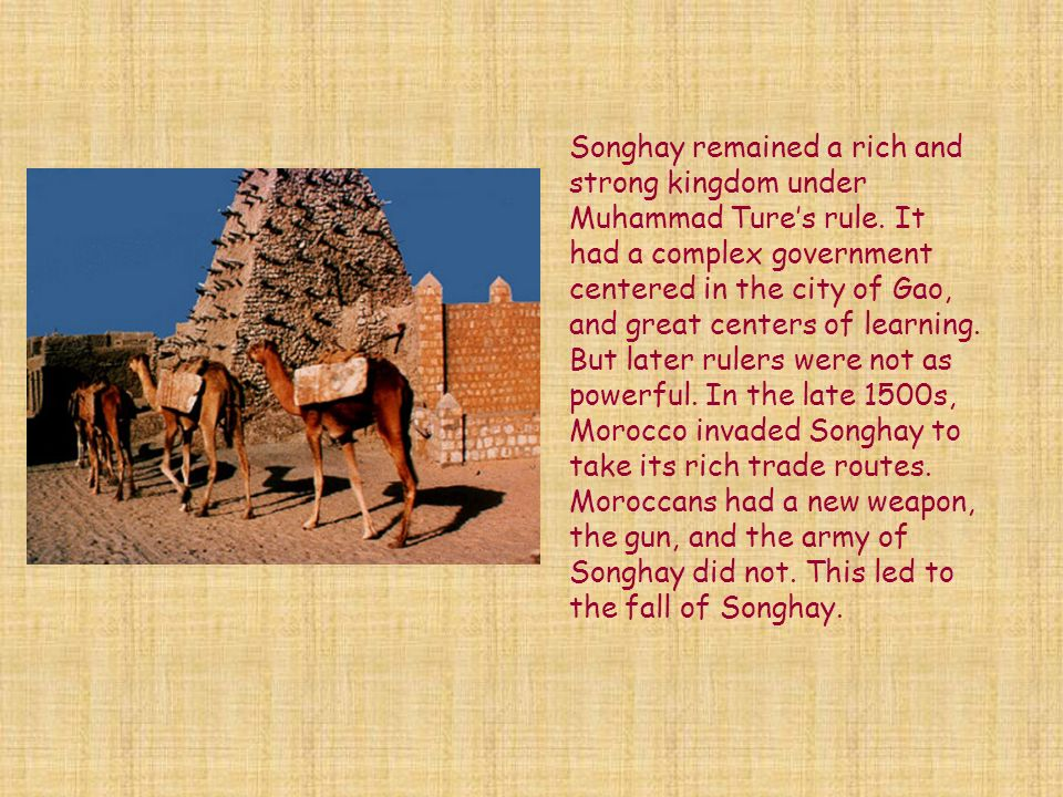 Songhay remained a rich and strong kingdom under Muhammad Ture's rule