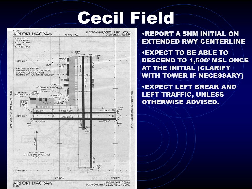 Cecil Field REPORT A 5NM INITIAL ON EXTENDED RWY CENTERLINE