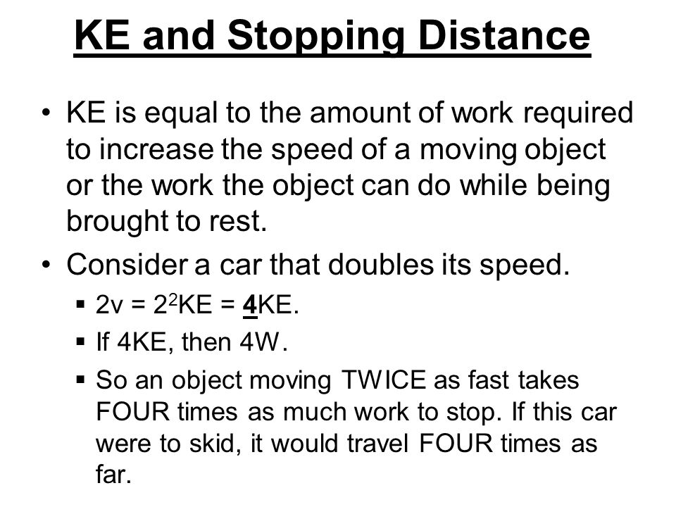 KE and Stopping Distance