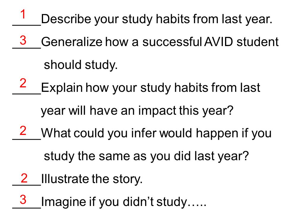 1 ____Describe your study habits from last year. ____Generalize how a successful AVID student. should study.
