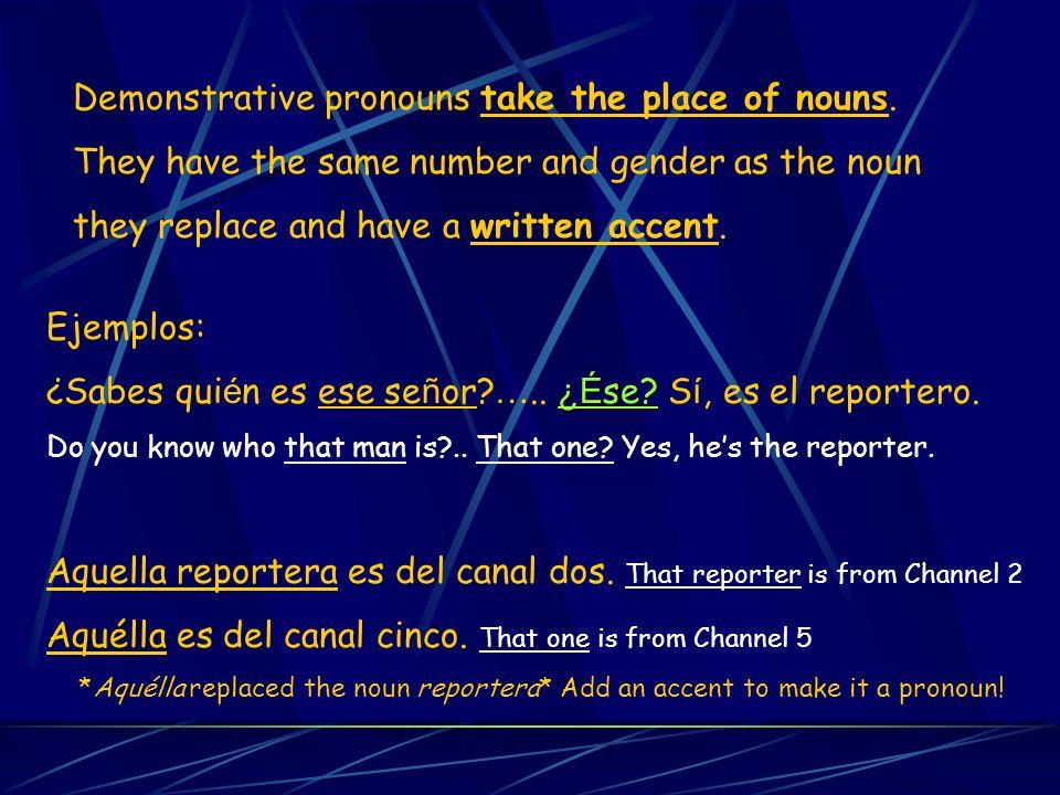 Demonstrative pronouns take the place of nouns.
