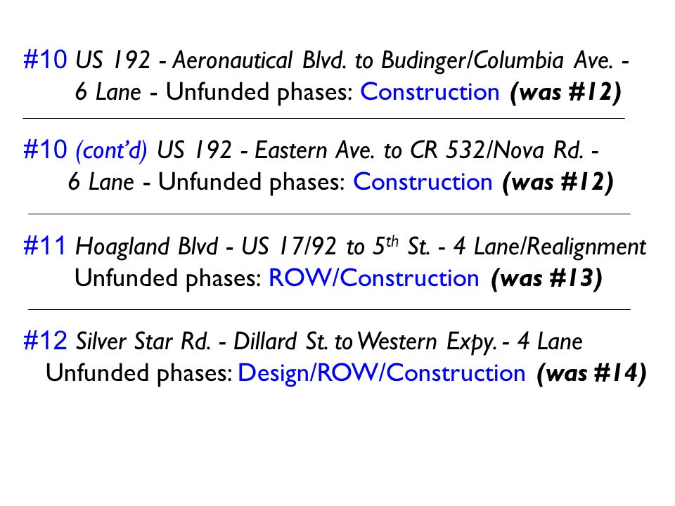 #10 US 192 - Aeronautical Blvd. to Budinger/Columbia Ave. -