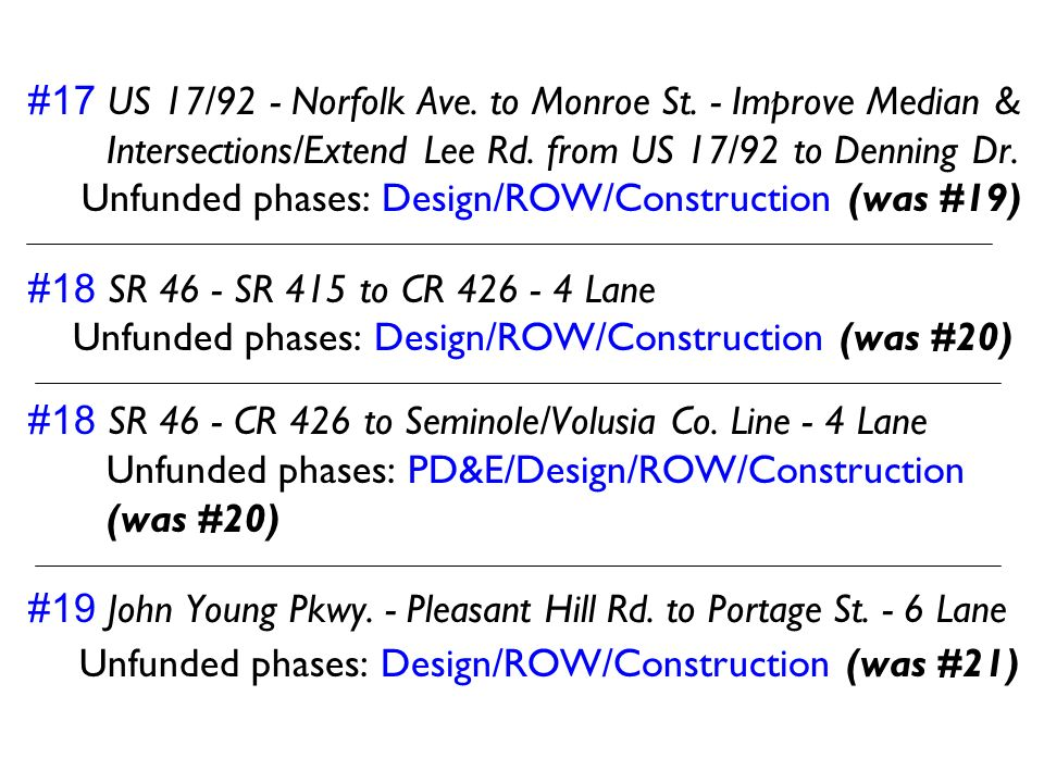 Unfunded phases: Design/ROW/Construction (was #21)