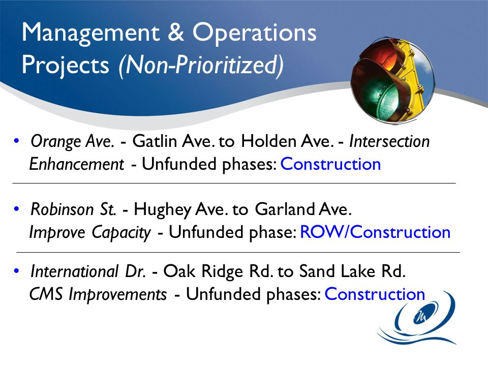 Management & Operations Projects (Non-Prioritized)