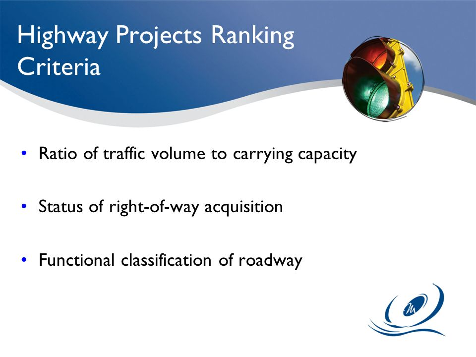 Highway Projects Ranking Criteria