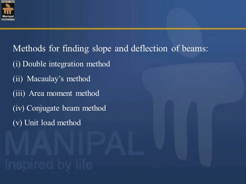 Methods for finding slope and deflection of beams: