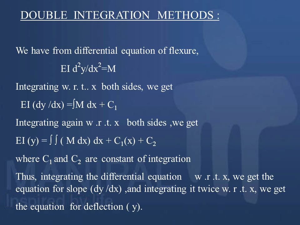 DOUBLE INTEGRATION METHODS :