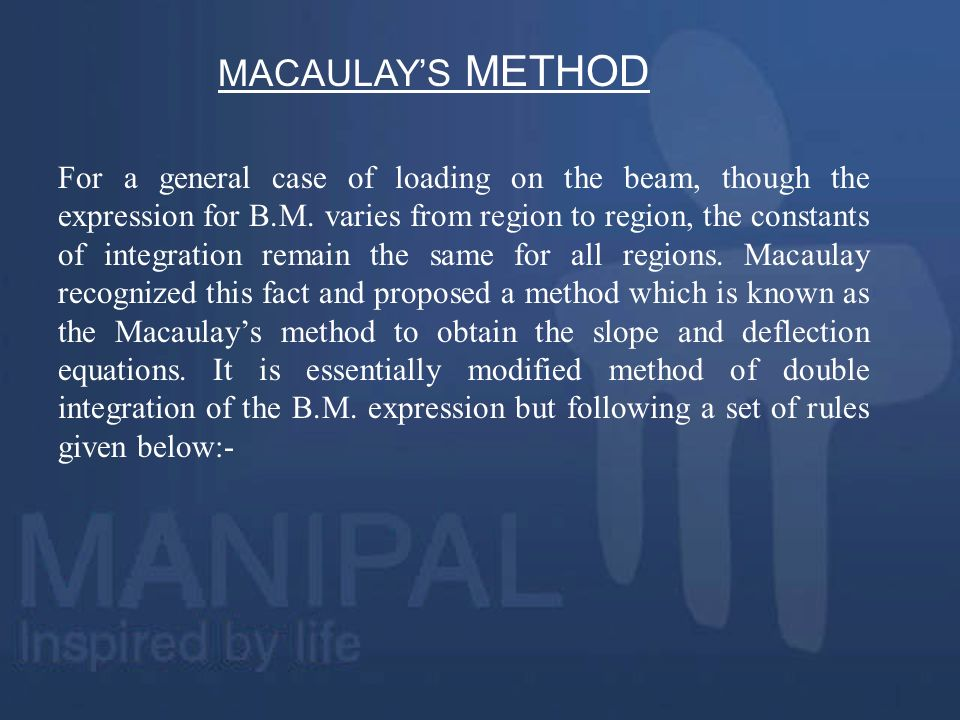 MACAULAY'S METHOD