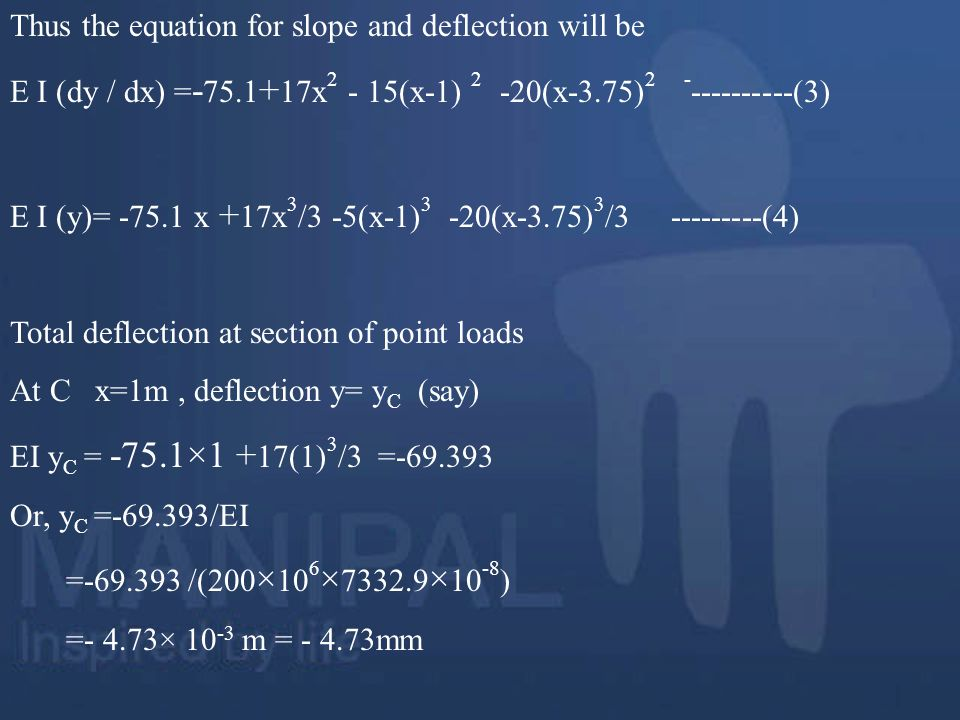 Thus the equation for slope and deflection will be