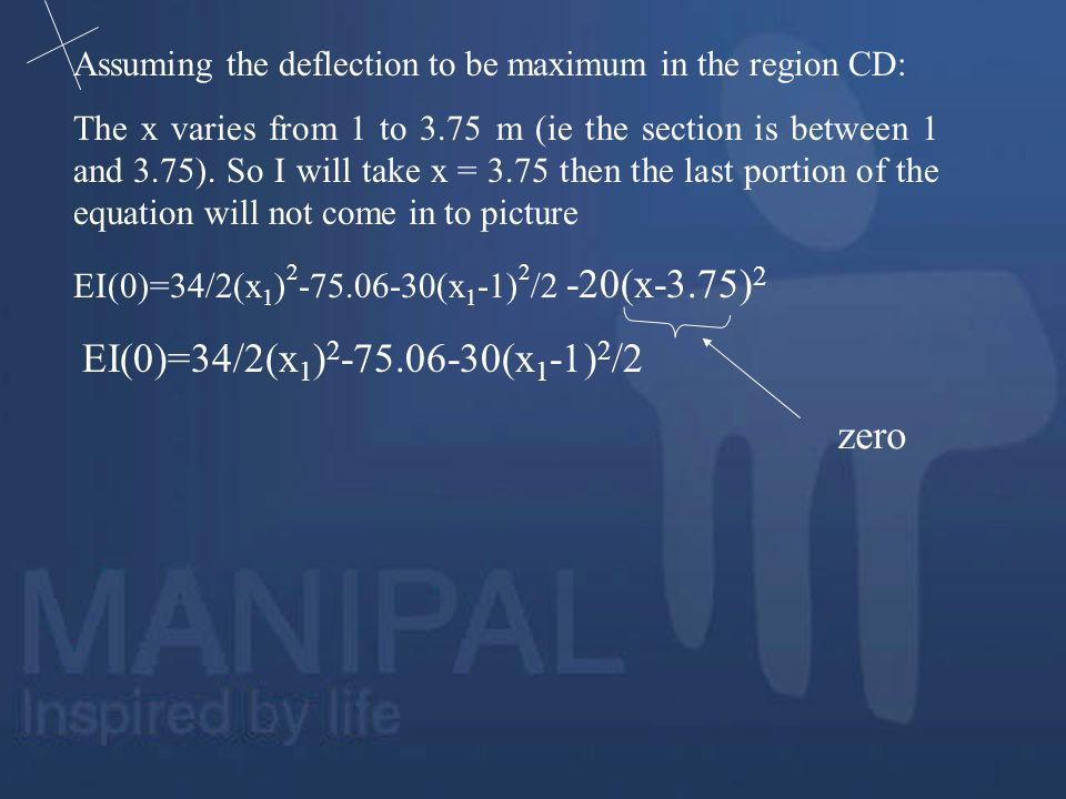 zero Assuming the deflection to be maximum in the region CD:
