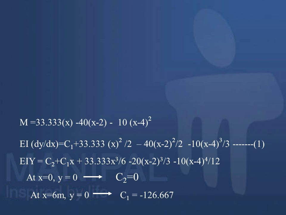 M =33.333(x) -40(x-2) - 10 (x-4)2 EI (dy/dx)=C1+33.333 (x)2 /2 – 40(x-2)2/2 -10(x-4)3/3 -------(1)
