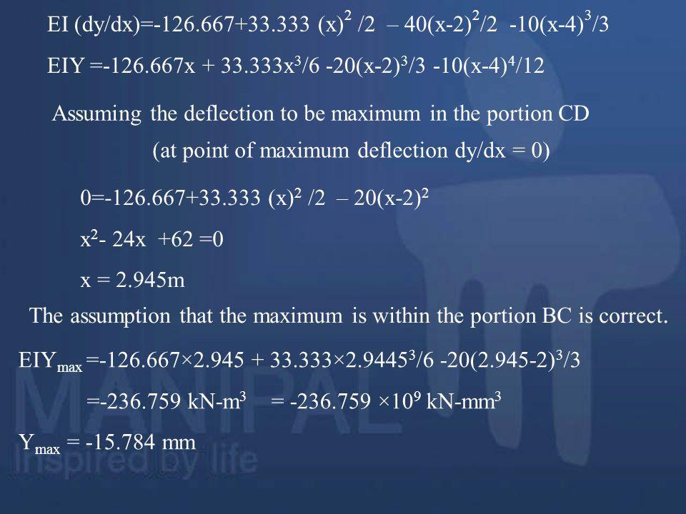 EI (dy/dx)=-126.667+33.333 (x)2 /2 – 40(x-2)2/2 -10(x-4)3/3