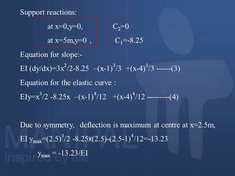 Support reactions: at x=0,y=0, C2=0. at x=5m,y=0 , C1=-8.25. Equation for slope:-