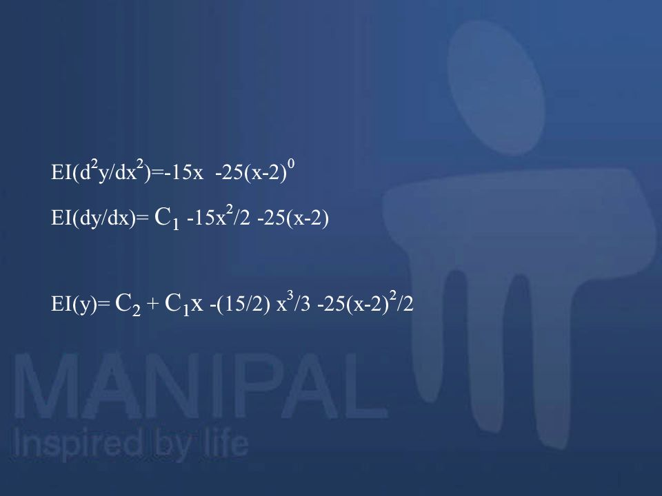 EI(d2y/dx2)=-15x -25(x-2)0 EI(dy/dx)= C1 -15x2/2 -25(x-2) EI(y)= C2 + C1x -(15/2) x3/3 -25(x-2)2/2