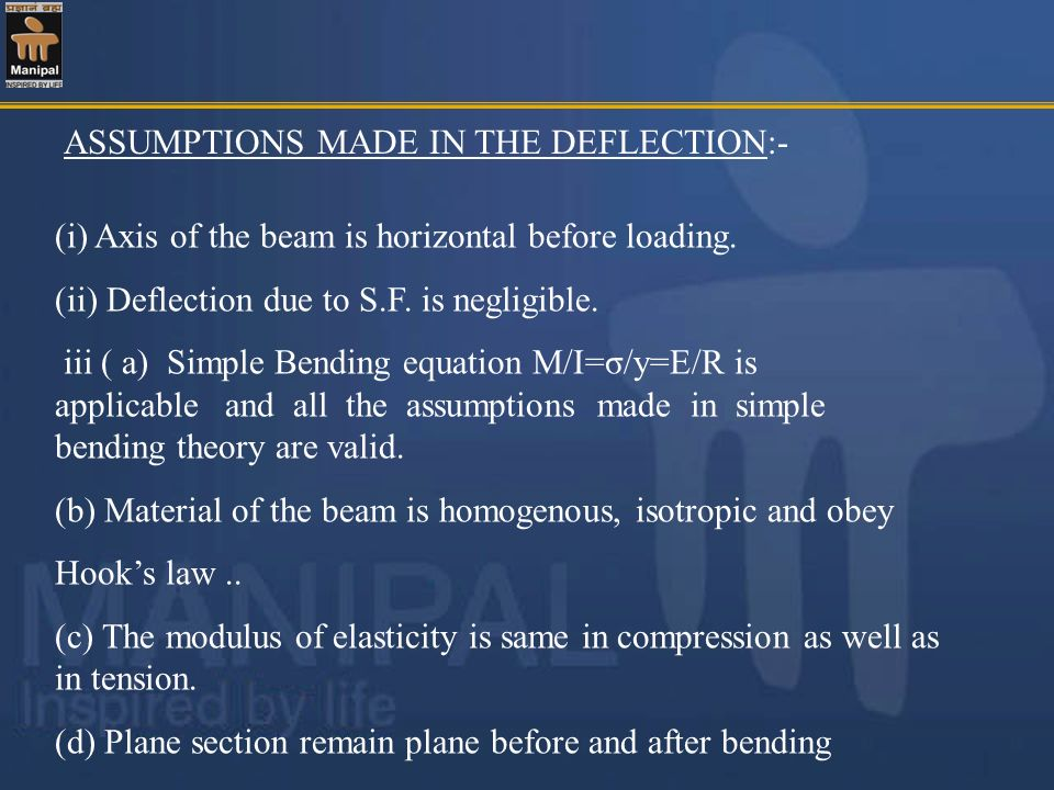 ASSUMPTIONS MADE IN THE DEFLECTION:-