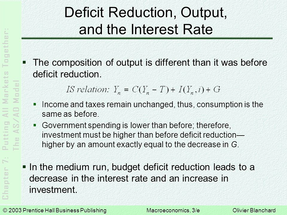 Deficit Reduction, Output, and the Interest Rate
