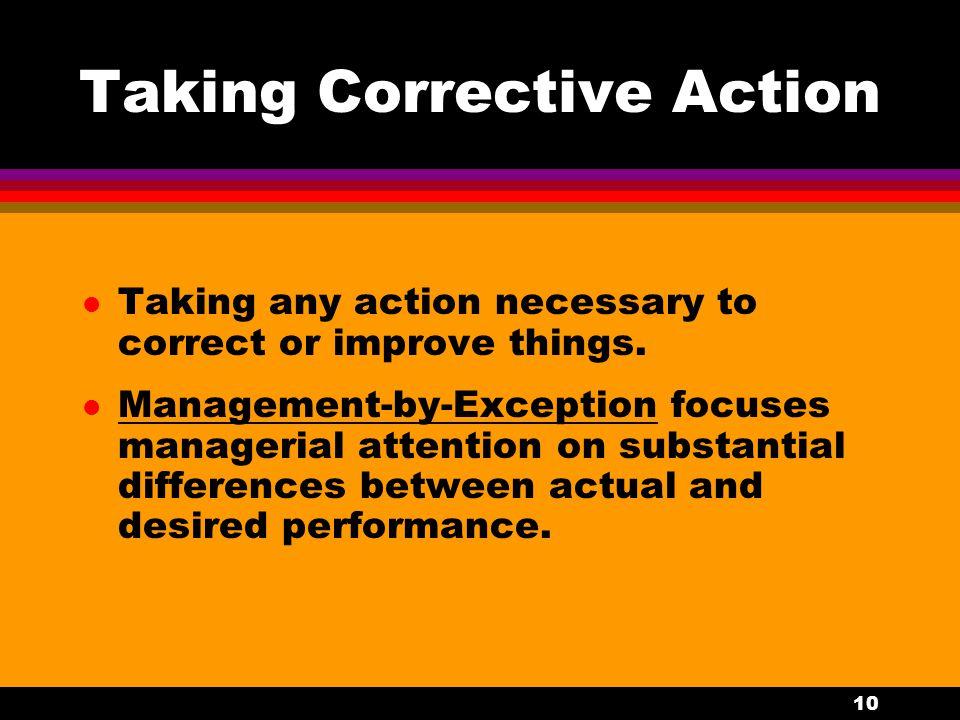 Taking Corrective Action